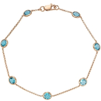 London Road 9Ct Gold Raindrop Bracelet Blue Topaz