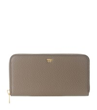 Tom Ford Logo Gold Zipped Wallet Burgundy