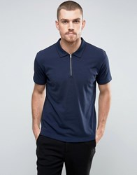 Ymc Perforated Zip Polo Navy