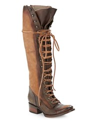 Freebird Arlo Leather Lace Up Boots Tan