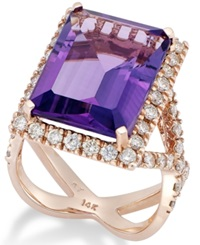 Macy's Amethyst 12 Ct. T.W. And Diamond 1 1 4 Ct. T.W. Ring In 14K Rose Gold