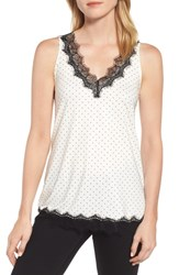 Rosemunde Billie Lace Trim Tank Ivory Dot Print