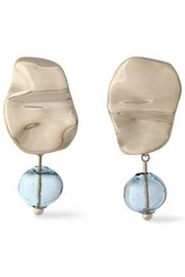 Proenza Schouler Gold Tone Bead Clip Earrings Sky Blue