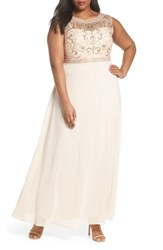 Decode 1.8 Plus Size Women's Sleeveless Beaded Gown Champagne