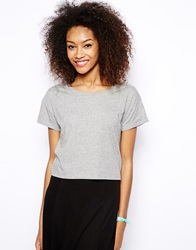 Monki Roll Sleeve Tee Greymelange
