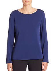 Giorgio Armani Charmeuse Long Sleeve Blouse Ultra Blue