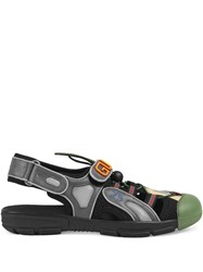 Gucci Leather And Mesh Sandal Black