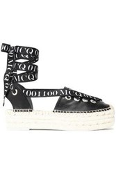 Mcq By Alexander Mcqueen Lace Up Printed Grosgrain Trimmed Leather Espadrilles Black