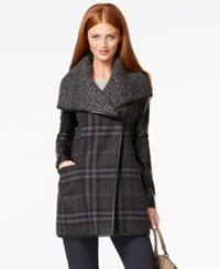 Vera Wang Coat Faux Leather Sleeve Textured Plaid Coat