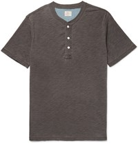 Faherty Slim Fit Slub Cotton Jersey Henley T Shirt Charcoal
