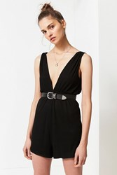 Urban Outfitters Uo Ribbed Knit Plunging Babydoll Romper Black