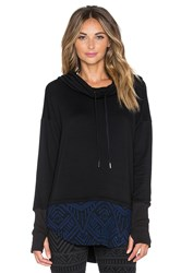 Pink Lotus Urban Beat Cowl Neck Hoodie Black