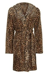 Topshop Women's Leopard Print Hooded Robe