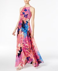 Inc International Concepts Petite Floral Print Halter Maxi Dress Only At Macy's Pink Blue Floral