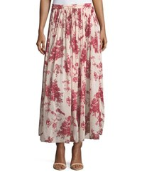 Giada Forte Liberty Floral Print Gathered A Line Voile Long Skirt Red Pattern