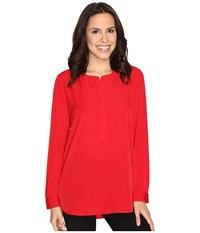 Nydj Woven Tunic Cardinal Red Women's Blouse