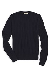 Men's Burberry London 'Newham' Cashmere Aran Knit Sweater Navy