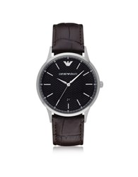 Emporio Armani Renato Black Dial Stainless Steel Men's Watch W Leather Strap