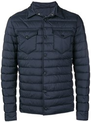 Herno Quilted Shirt Jacket Blue