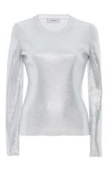 Carven Metallic Ribbed Knit Silver