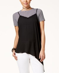 Shift Juniors' Layered Look Asymmetrical T Shirt Black