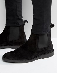Selected Homme Royce Suede Chelsea Boots Black