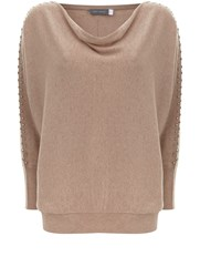 Mint Velvet Champagne Stud Sleeve Batwing Knit Neutral