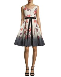 Marc Jacobs Sleeveless Floral Print Fit And Flare Dress Cream