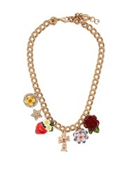 Dolce And Gabbana Strawberry Rose Crystal Charm Necklace Red