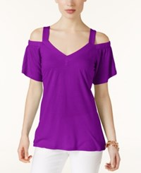 Inc International Concepts Off The Shoulder T Shirt Only At Macy's Vivid Purple