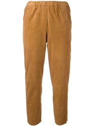 Drome Elasticated Waistband Cropped Trousers Brown