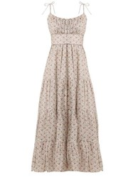 Zimmermann Heathers Tiered Floral Print Linen Dress White Print