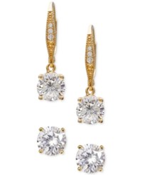 Macy's Giani Bernini 2 Pc. Set Cubic Zirconia Stud And Drop Earrings In 18K Gold Plated Sterling Silver Only At