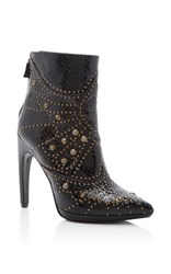 Rodarte Embossed Studded Leather Ankle Boot Black