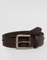 New Look Leather Belt With Weave Detail In Brown Brown