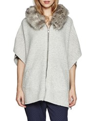 French Connection Fur Hood Short Sleeve Sweater Grey