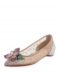 Christian Louboutin Feerica Crystal Embellished Red Sole Skimmer White