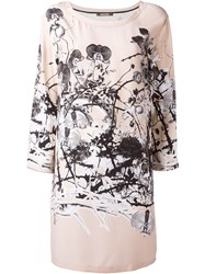 Roberto Cavalli Floral Print Shift Dress Nude And Neutrals