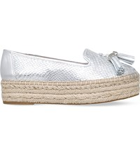 Carvela Liberty Metallic Leather Espadrilles Silver