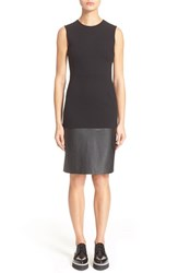 Women's Mcq By Alexander Mcqueen Ponte Knit And Faux Leather Sheath Dress