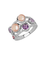 Lord And Taylor Sterling Silver Fresh Water Pearl Diamond Ring With Amethyst Pink Tourmaline Pearl Silver