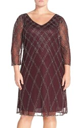 Plus Size Women's J Kara Beaded Three Quarter Sleeve A Line Dress