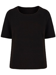 Yumi Waffle Textured Short Sleeve Top Black