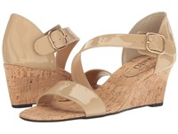 Vaneli Marise Ecru Patent Gold Buckle Women's Wedge Shoes Beige
