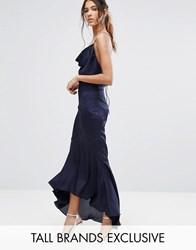 Jarlo Tall Cami Strap Slinky High Low Midi Dress Navy