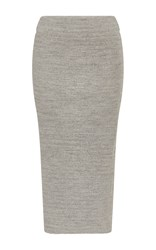 James Perse Ribbed Midi Skirt Light Grey