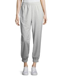 Joan Vass Stretch Interlock Jogger Pants Plus Size Grey Heather