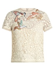 Red Valentino Bird Embroidered Macrame Lace Top Ivory