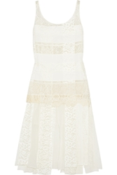 Nina Ricci Paneled Lace And Crepe Dress