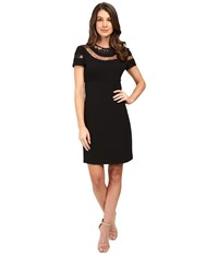Donna Morgan Short Sleeve A Line Dress Black Women's Dress